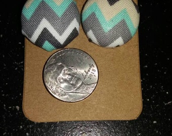 Chevron print button earrings