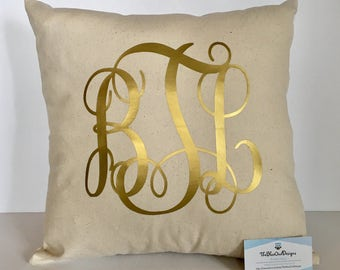 Monogrammed Throw Pillow Cover