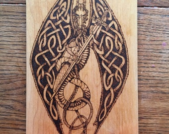 Woodburned Celtic dragon