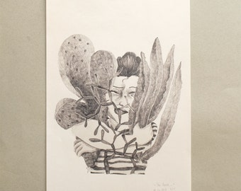 """Succulents and Girls, Art Print, DIN A3, Pencildrawing 