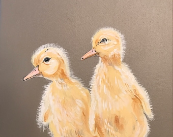 Baby ducks on canvas in Acrylic. 50% of purchase goes to charity.