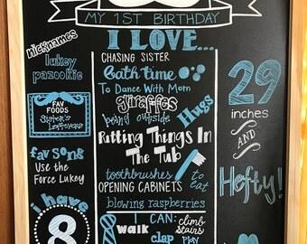 Custom Mustache Bash Milestone Chalkboard Sign/Boy Birthday/Blue, Black, and White