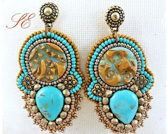 Ethnic earrings turquoise, OOAK handmade