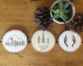 Wood Burned Coasters