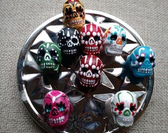 Sugar Skull Magnets-fridge magnet,Kitchen decor,day of the dead,dia de los meurtos, Neodymium, unique, Mexican,FREE SHIPPING