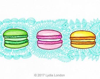 French Macarons Letter Size Digital Print, macaroons, france, sweets, dessert, colourful, colorful, wall art, artwork, illustration, art