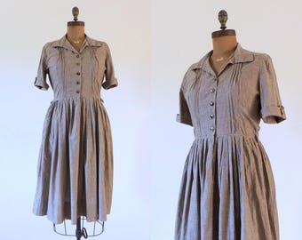 Vintage 1950s brown striped cotton shirtdress | 50s shirtwaist with full skirt | 1950's cotton day dress | 50's rockabilly fit and flare | L