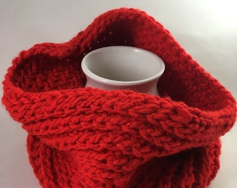 Narrow Red Chain-Link Cowl; Neck Wear; Scarf
