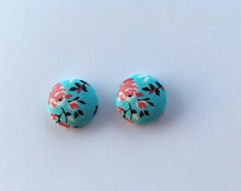 Pink Flowers on Turquoise Fabric Button Earrings