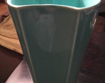 Hourglass Opening Design Turquoise Art Deco Trenton Pottery Vase