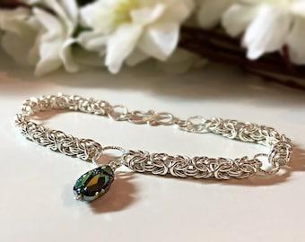 Sterling Silver Byzantine Weave Chain Mail Bracelet Featuring A Swarovski Crystal Scarab Beetle, Silver Chainmaille, Chainmaille Bracelet