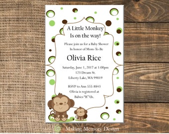 Green and Brown Monkey Baby Shower Invitation