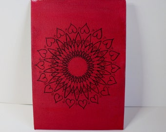 Red Mandala, Mandala, Canvas Board, Hearts, Red