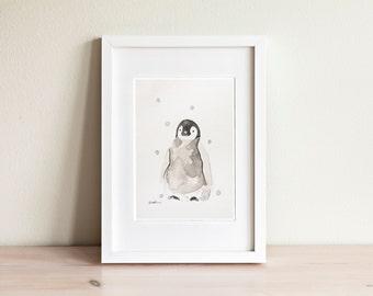 Illustration bébé pingouin, Baby penguin Illustration / fait main, handmade