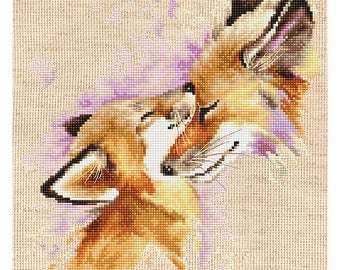 Foxes Counted Cross Stitch Kit Tenderness Foxes Mother's love Counted Cross Stitch Luca-S Two foxes