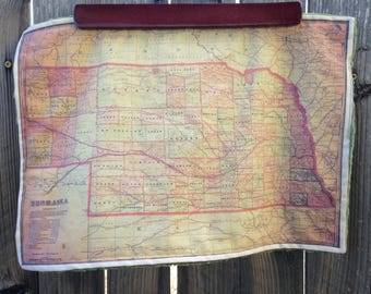 NEBRASKA map blanket - baby minky security blankie - small travel blanky, lovie, lovey, woobie - 12 by 17 inches