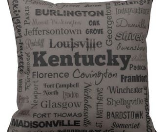 Kentucky cities pillow - KY typography throw pillow - blue or gray decorative pillow - Ken. cushion - KY gift