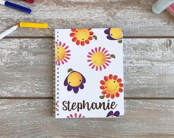 Personalized Girls Notebook,Flowers Painting,Name Personalization,White or Blue Option,Original Art,Girls Journal,School,Personalized Gift