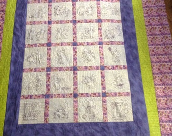 Custom made hand embroidered quilt