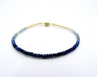 Ombre Blue Sapphire bracelet, Sapphire blue ombre Sapphire beads  gemstone bracelet ombre Sapphire faceted bracelet sapphire beaded bracelet