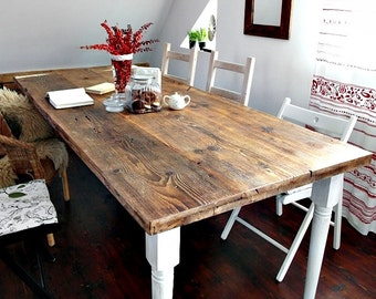 Hand Crafted 6 8 10 seater farmhouse country house style Reclaimed Wood  Dining Table Handmade Kitchen Table old wood white brown RUSTIC