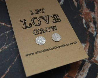Textured Silver disc studs