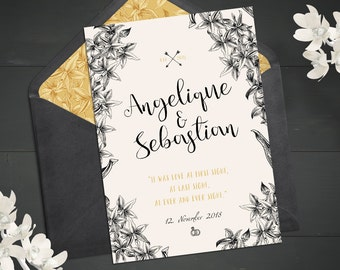 Vintage wedding invitation | Rustic print cards | Botanical design