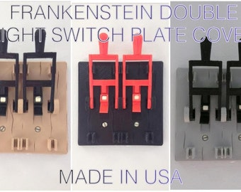 Dual Frankenstein light switch cover plate flip handle home decor 2 switch two - choose color - Made in USA