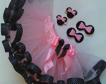 Pink Black Minnie Mouse Birthday Outfit, Minnie Mouse Birthday Tutu Set , Minnie Mouse Tutu Outfit, minnie mouse ears,second Birthday Outfit