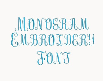 monogram Embroidery Font-5 Sizes Machine Embroidery Font,Embroidery Font,Monogram Alphabet,Instant Download,8 Formats Embroidery Pattern