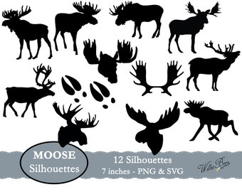 Moose Silhouette Clip Art - 7 inches - PNG & SVG files - Moose Images - Moose Silhouettes - Hunting - INSTANT Download