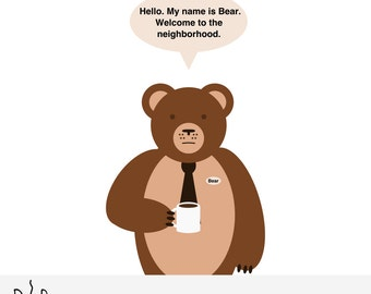 Cubicle Bear Greeting Card
