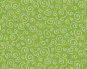 Joey the Shop Dog - 1448-40 Curls Green - by Rose Ann Cook for Benartex