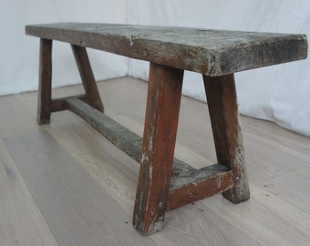 Vintage French Rustic Wooden Bench