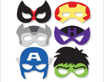 superheroes mask printables avengers props photo booth avengers backdrops superheroes party captain america halk iron man instant