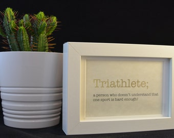 Urban Dictionary Wall Art / Triathlete Definition / Dictionary Art / Funny Definition / Word Art