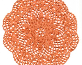 Lace Crochet Doily Orange Handmade Cotton Handcrafted Round Doilies Crocheted Centerpiece Lacy Home Decor Wedding Decorative Bohemian