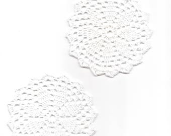 2 Mini Crochet Doilies Lace Doily Table decoration Crocheted Scrapbook Craft Handmade Wedding Doily Napkin Bohemian Decor Round White Flower