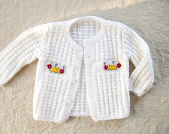 Vintage Knit Baby Cardigan -  9-12 Months