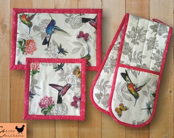 Oven Glove Mitt Hot Pad Kitchen Set Flowers Hummingbird Pink White Grey Mother's Day Gift Housewarming