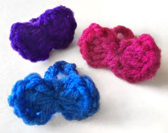 Crochet Bow Ring | 3-pack, pink, purple, blue