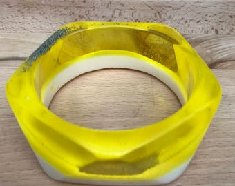 Yellow & Cream Glow-in-the-dark Bangle