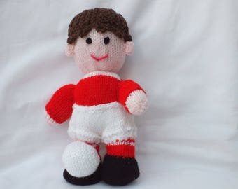 Hand Knitted Footballer in choice of colours