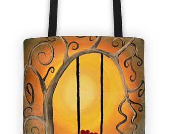 Tote bag 100% original design - two hearts on a swing