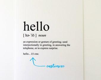 Hello Card - Friend Card - Best Friend Card - Miss You Card - Just Because - Encouragement Card - Greeting Card - Humorous Greeting Card
