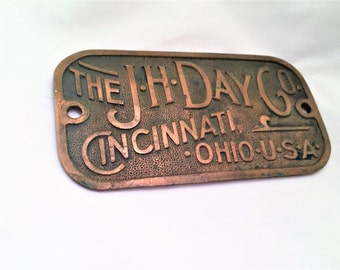 J H Day Vintage Machinery Plaque Large  Cinncinati, OH, Collectible, Advertising Vintage