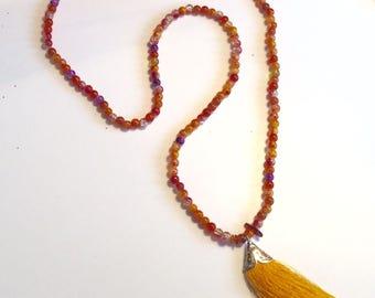 Opaque Pearl Necklace Orange, plum