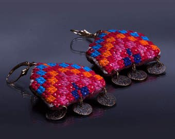embroidery handmade earrings + gold filled  earrings