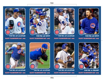 Chicago Cubs Baseball Valentine's Day Cards Instant Download You're an MVP