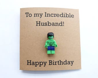 Hulk birthday card. Husband birthday card. Superhero minifigure card. Geek birthday card. Funny husband card. Avengers birthday card.